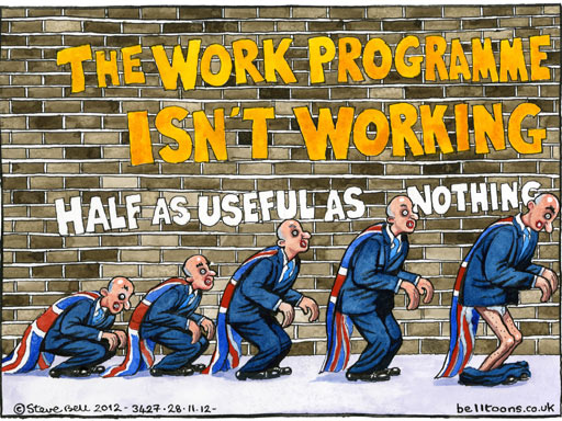 The Secretary of State's new clothes: Steve Bell's verdict on the Work Programme, as published in the Guardian on November 27.