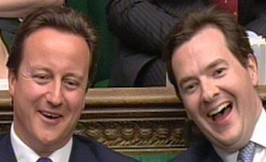 Laughing all the way to the bank: Thanks to these two grinning goons, UK tax law is now totally bent - in their favour.