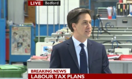Labour's tax revelation: Ed Miliband announces his plan to reinstate the 10p lower tax band, as broadcast by the BBC.