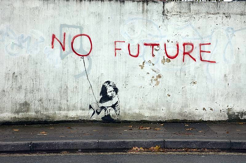 No future: This is how young people feel about the nation of their birth. Image by Banksy (at long last, I get a Banksy onto Vox Political!)