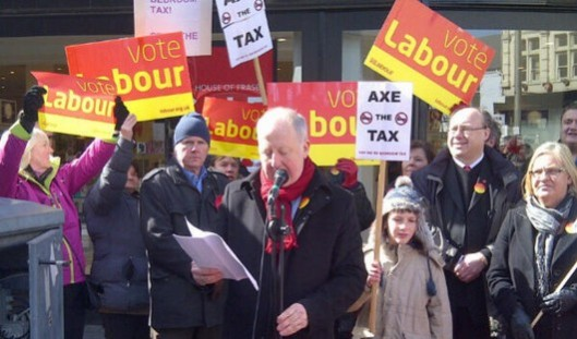 MPs Andy McDonald and Grahame Morris spoke against the bedroom tax at the Middlesbrough demonstration.