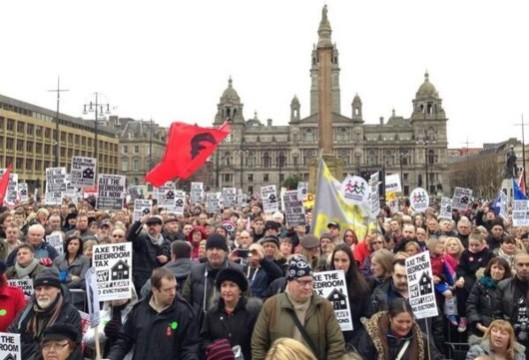 Hugely unpopular: Thousands of people have demonstrated against the bedroom tax on the poor since it was first announced by our government of millionaires - this one was in Glasgow.