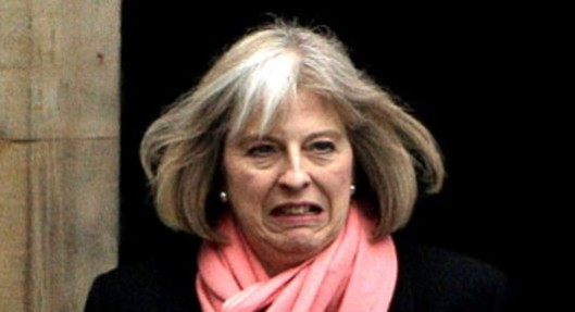 A face of evil: Theresa May wants to take away your human rights and leave you at the mercy of government repression.