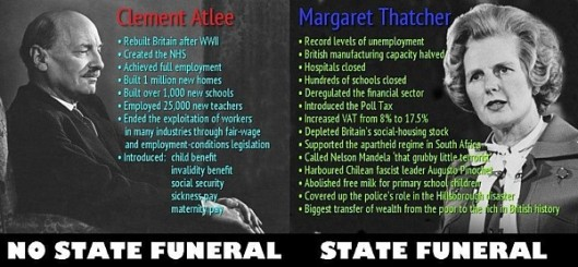 In fact she'll get a military funeral, which is just as expensive and unwanted by the majority of Britons. What this image makes clear is just how badly wrong the current UK government's priorities have become.