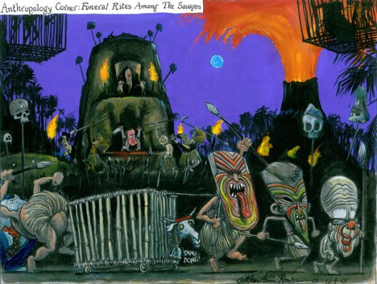 Martin Rowson's Guardian cartoon of April 13 satirises the spectacle of Baroness Thatcher's funeral, calling it as he sees it: A primitive tribal ritual.