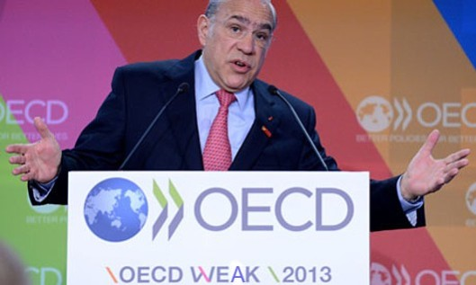 Schizoid report: José Ángel Gurría, secretary general of the OECD. He'd probably object to the way we've defaced his sign, but it now provides a more accurate description of his organisation's opinions.