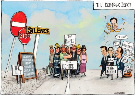 The newest right-wing party: This Gary Baker cartoon appeared after Ed Miliband's 'One Nation' speech last year, but let's adopt it to illustrate the fact that successive Labour leaders, from Blair to Brown to Miliband, have steered the party ever-further away from its support base until, with Miliband's speech this week, it has become a pale shadow of the Conservative Party it claims to oppose, leaving the majority of the UK's population with nobody to speak for them.
