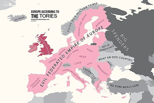Skewed view: This image (not mine) provides a startlingly accurate representation of the way British Conservatives see Europe. Do you honestly think they can be trusted to honour the human rights that European laws have granted us?