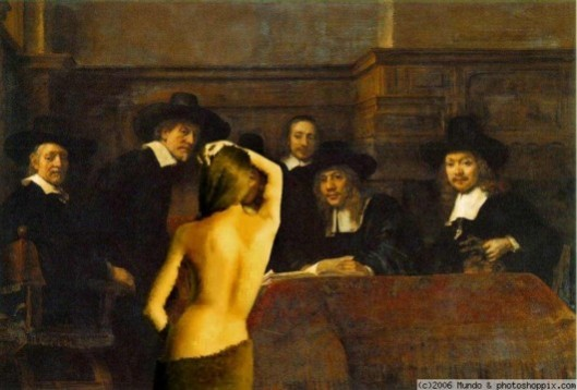 "Government-approved sex industry: A ""gentleman's"" club - possibly as Conservative MPs understand them. Indeed, some sitting members may have posed for this very portrait."