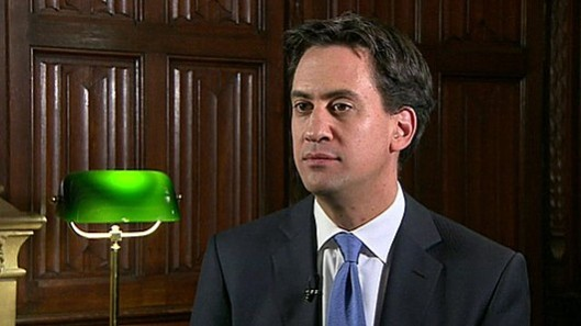 Costed and credible: Ed Miliband announcing Labour's plan to end the bedroom tax. [Picture: BBC]