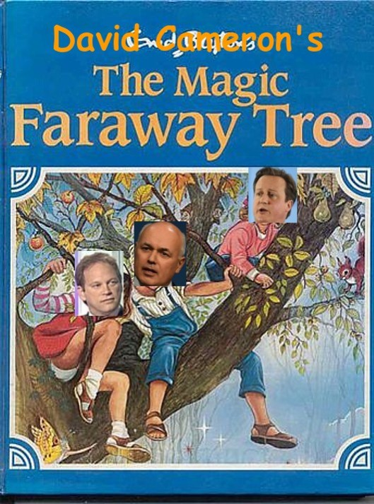 The Tory Faraway Tree: By the power of very bad image editing, David Cameron, Iain (RTU) Smith and Grant Shapps have replaced the protagonists. Careful, Mr Shapps - your panties are showing! How unusual that they aren't on fire!