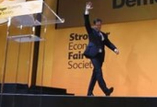 The body language says it all: Nick Clegg appears to goose-step off the stage after his conference speech on Wednesday, Nazi-saluting his fellow party members.
