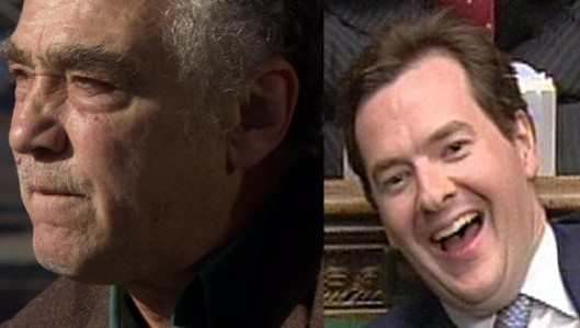 Who should be more ashamed that Peter Lumb (left) has been summonsed because he is unemployed and does not have the cash to pay his council tax bill? Mr Lumb himself? Or George Osborne (right) for creating a system in which people like Mr Lumb are thrown away by indifferent employers?