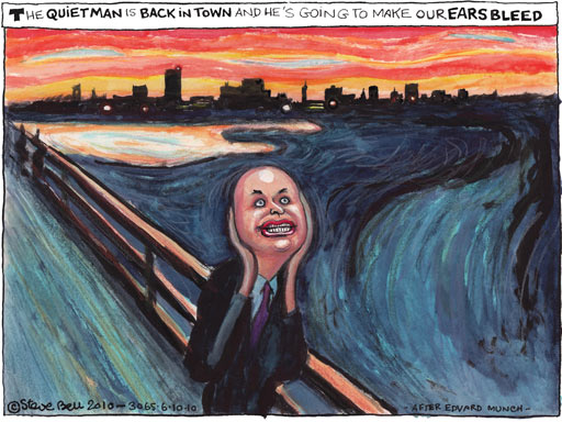 Iain Duncan Smith: He opens his mouth - and the world screams. [Image: Steve Bell]