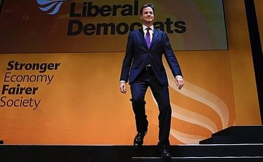 Doesn't he look like a puppet? In fact the correct term is 'marionette' - for a puppet on strings, worked from above. But who's pulling Nick Clegg's strings this time?