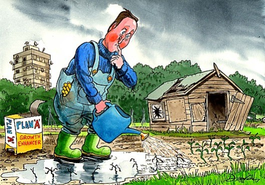 Leading us down the garden path: Cameron wants us to believe the economy is growing but, like a bad gardener, he hasn't fertilised it, and has allowed it to be overrun with weeds. [Image: Andy Davey www.andydavey.com]