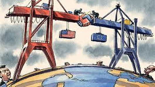 Corporate trade a-greed-ment: Notice that this image of the Transatlantic Trade and Investment Partnership has mighty corporations straddling the Atlantic while the 'little' people - the populations they are treading on - are nowhere to be seen. [Picture: FT]