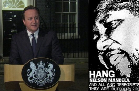 "Hypocrite: We can't prove Cameron was behind the 'Hang Mandela' campaign of the 1980s, but we do know he opposed Mandela's politics and supported apartheid in South Africa. He did not think Mandela was a ""great light"" or a ""hero"" - he's just saying what he thinks you want to hear."