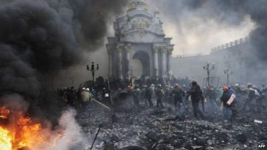 Battlefield: Independence Square in Kiev after clashes on February 20.