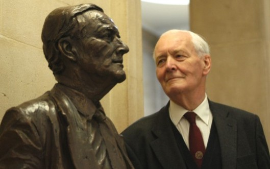 Immortalised: The late Tony Benn with a statue of himself that stands at Bristol City Council's headquarters. He represented Bristol South East in Parliament for 30 years.