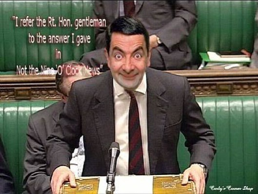 Mr Os-bean: As Ed Miliband gave his response to the Budget, George Osborne had a gormless smile on his face that made him look like Mr Bean.  This is not him - but it's the closest image I could find at short notice. [Image as credited]