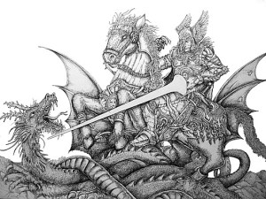 Confrontation: Let's hope the FoI tribunal ends as well for Vox Political as his encounter with the dragon did for St George. [Image: bradfordschools.net]