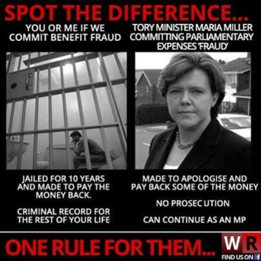One law for them...: This image appeared on Twitter, summarising how the law treats MPs in comparison with the rest of us.