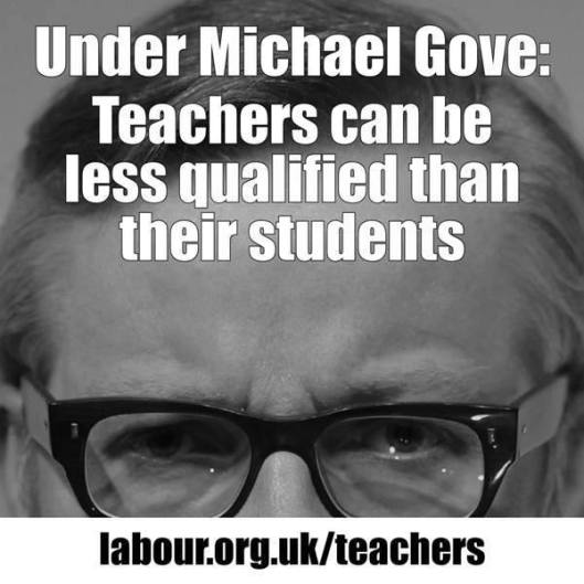 Underqualified: This Labour Party campaign meme highlights the drawbacks of Michael Gove's foolish and expensive 'free school' experiment.
