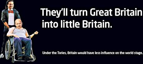Many a truth told in jest: This Labour advert was withdrawn after claims that it was in bad taste (although this could be said equally well of the television programme it references) - but it accurately summarises the Conservative approach to the European Union and our place in the world.