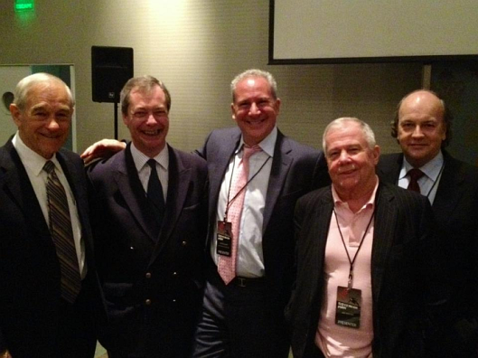 Friends in right-wing places: Nigel Farage with (among others) US right-wingers Ron Paul and James Beeland Rogers Jr. [Image swiped from Pride's Purge.]