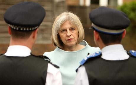 Confrontational: Theresa May has made an enemy of the police. They'll be taking solace from the thought that one day they might be asked to arrest her. [Image: Daily Telegraph]
