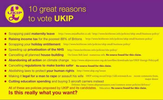 Not great reasons: Most of the links on this now-infamous meme have been taken down by UKIP members, anxious to hide the embarrassing facts they revealed. The vote in favour of marital rape is not so easily removed as it is recorded on the European Parliament's official website.