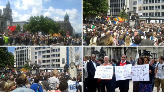 Gathering against racism: The people of Northern Ireland demonstrating outside Belfast City Hall [Images: Dermot O' Lymm, as used by Channel 4's news website].