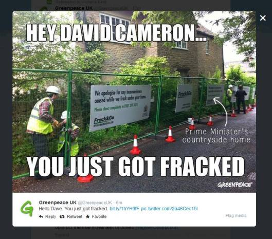 Frack Cameron: In advance of a new bill to allow fracking under private homes, Greenpeace did this to David Cameron's Chipping Norton home. Fair comment?