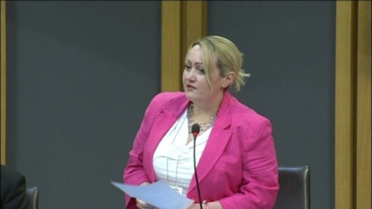 The day job: Rebecca Evans AM in the more familiar environment of the Assembly debating chamber [Image: ITV].