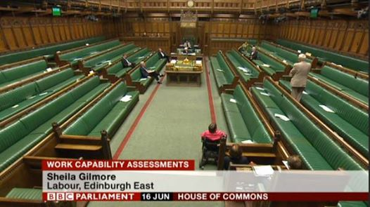 National disgrace: The green benches were almost empty during yesterday's debate on the DWP's new 'mandatory reconsideration' regime - and the potential number of deaths it is causing.