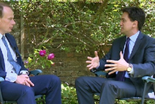 Mile-wide: Mr Miliband explained his idea to bridge the gulf between the public and the Prime Minister to Andrew Marr.