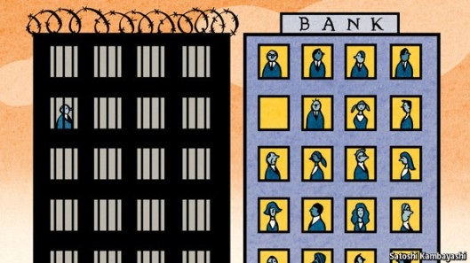 "Not even this many: This Economist cartoon paints a false picture of the situation. The magazine has stated: ""In Britain, which had to bail out three of its biggest banks, not one senior banker has gone on trial over the failure of a bank."""